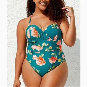 Cupshe Green Floral Moulded One Piece Swimsuit